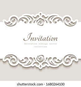 Cutout paper frame with swirly lace borders. Belly band decoration. Vintage vector template for laser cutting or plotter printing. Elegant ornament for wedding invitation card design. Place for text