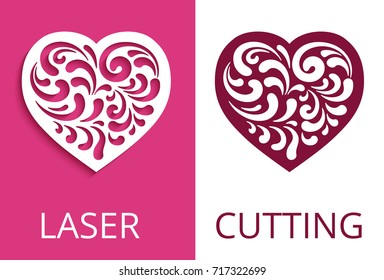 Cutout paper heart silhouette, decorative floral element, curly vector pattern for laser cutting or wood carving, elegant stencil swirls design, eps10