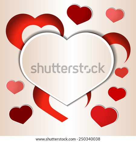 cutout paper hearts template stock vector royalty free 250340038