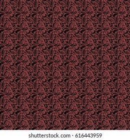 Cutout paper lace texture, vector tulle background, swirly seamless pattern on red. Vector illustration.