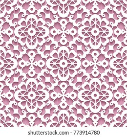 Cutout paper ornament, lace texture, vector seamless pattern, eps10