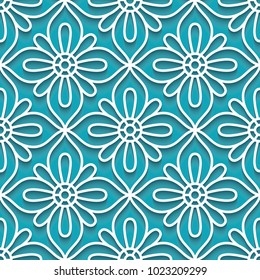 Cutout paper ornament, vector lace texture, tulle seamless pattern on turquoise, background, eps10