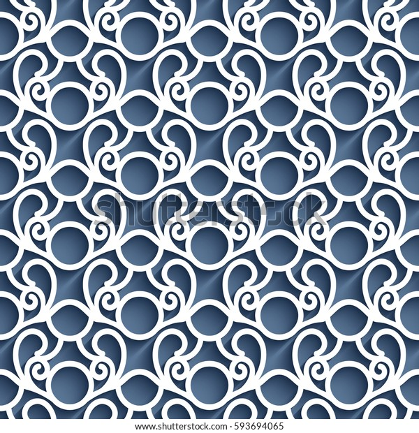 Cutout paper pattern, seamless lace texture, swirly vector lattice ornament