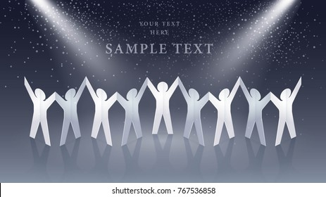 Cutout Paper people standing together hand in hand. Vector doll people chain, Team, Leadership, society, business teamwork concept.