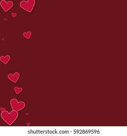 Cutout red paper hearts. Abstract left border with cutout red paper hearts on wine red background. Vector illustration.