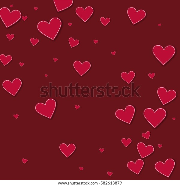 Cutout red paper hearts. Abstract scattered pattern with cutout red paper hearts on wine red background. Vector illustration.