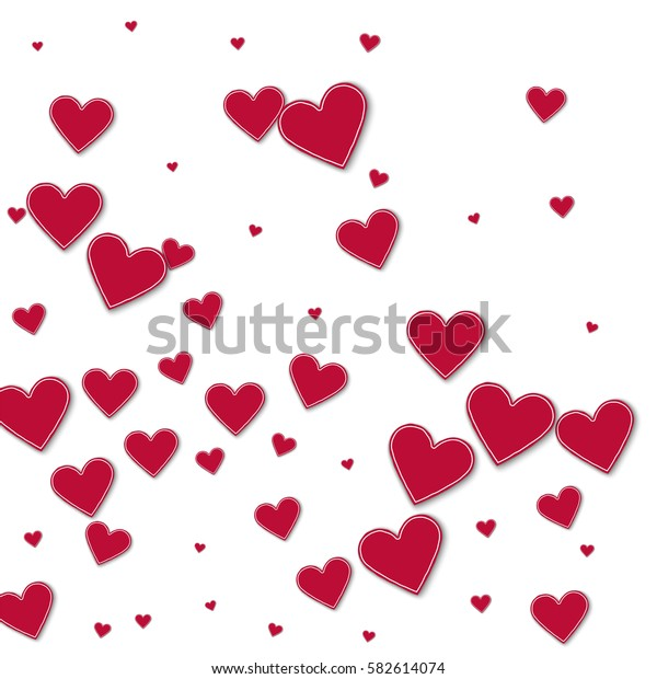 Cutout red paper hearts. Abstract mess with cutout red paper hearts on white background. Vector illustration.