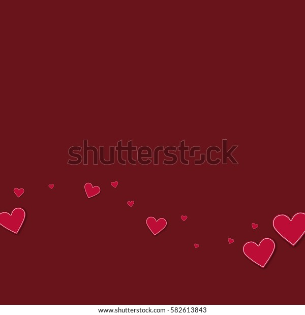 Cutout red paper hearts. Bottom wave with cutout red paper hearts on wine red background. Vector illustration.