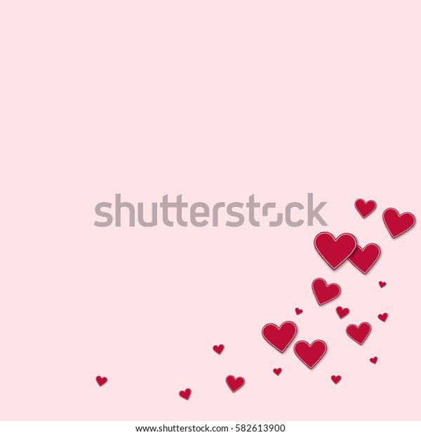 Cutout red paper hearts. Bottom right corner with cutout red paper hearts on light pink background. Vector illustration.