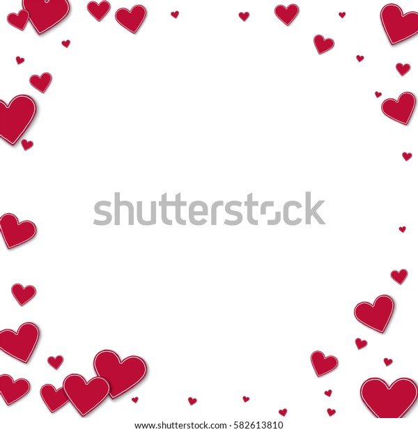 Cutout red paper hearts. Corner frame with cutout red paper hearts on white background. Vector illustration.