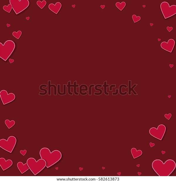 Cutout red paper hearts. Corner frame with cutout red paper hearts on wine red background. Vector illustration.