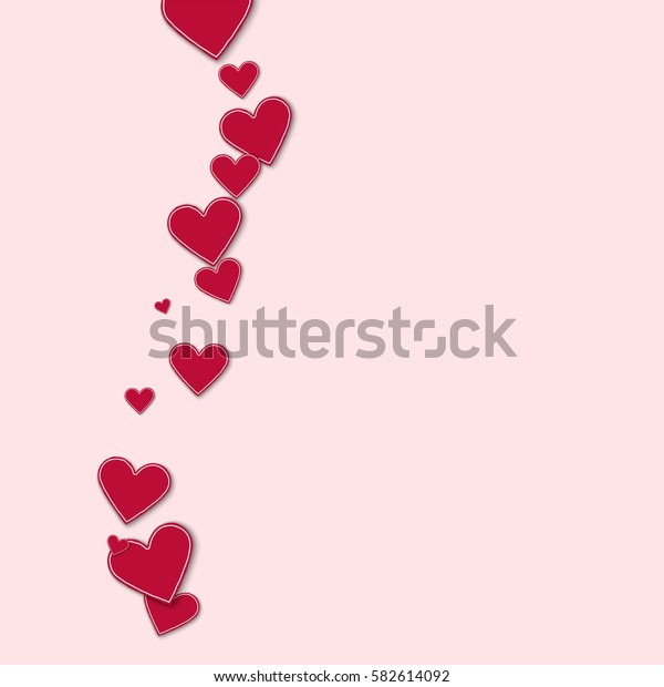 Cutout red paper hearts. Left wave with cutout red paper hearts on light pink background. Vector illustration.