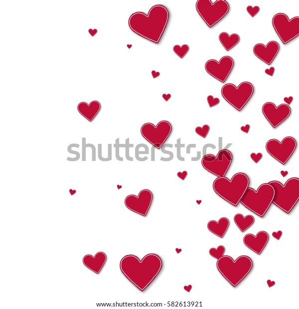 Cutout red paper hearts. Right gradient with cutout red paper hearts on white background. Vector illustration.