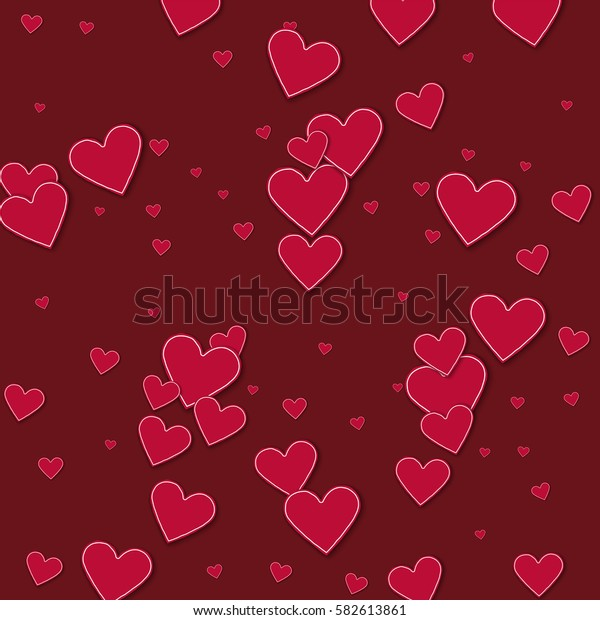 Cutout red paper hearts. Scatter horizontal lines with cutout red paper hearts on wine red background. Vector illustration.