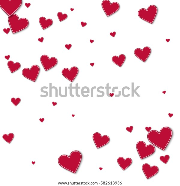 Cutout red paper hearts. Scatter pattern with cutout red paper hearts on white background. Vector illustration.