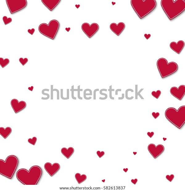 Cutout red paper hearts. Square scattered frame with cutout red paper hearts on white background. Vector illustration.