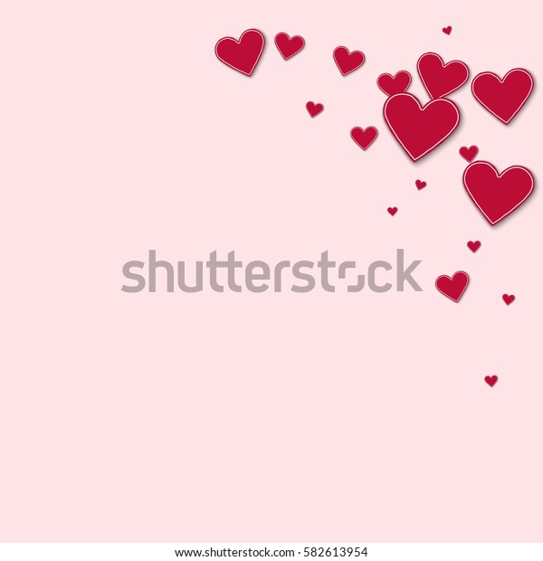 Cutout red paper hearts. Top right corner with cutout red paper hearts on light pink background. Vector illustration.