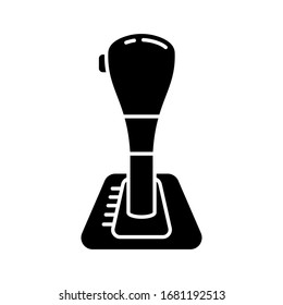 Cutout silhouette Automatic transmission, car gearbox icon. Outline logo of gear shift with button. Black simple illustration of shift knob, lever arm. Flat isolated vector image on white background
