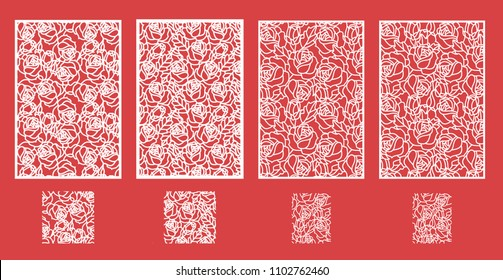 Cutout silhouette with botanical roses pattern. Vector template for laser cut panel card. A picture suitable for printing, engraving, laser cutting paper, wood, metal, stencil manufacturing