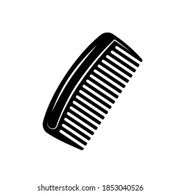 Cut-out silhouette of a comb for a beard. Comb for combing beard, hair comb. Beard Comb vector icon illustration.