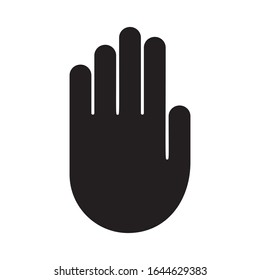 Cutout silhouette Palm of right hand icon. Outline template for warning, taboo and ban. Black simple illustration. Flat isolated vector image on white background. Stop symbol with copy space