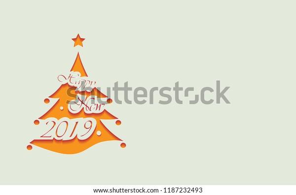 Christmas Tree Cutout.Cutout Stylized Orange Christmas Tree Text Stock Vector