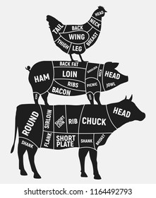 Cuts of meat set. Vintage Poster for butcher shop. Cuts of Beef, Pork, Chicken. Vector illustration.