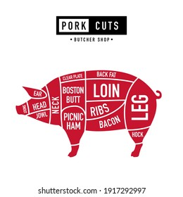 Cuts of Pork. Meat Diagram and Scheme. Poster for butcher shop. Vintage typographic. Retro style. Vector illustration.