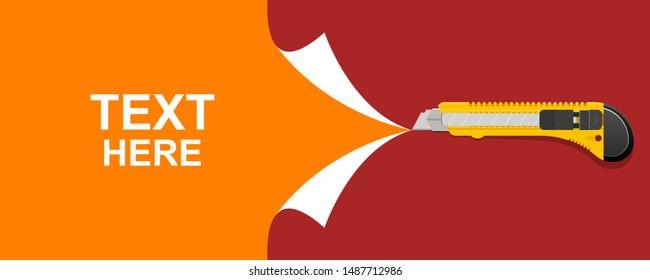 Cutter cut paper background vector design illustration