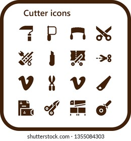 cutter icon set. 16 filled cutter icons.  Collection Of - Scythe, Saw, Scissors, Cutter, Vimeo, Stationery, Pizza