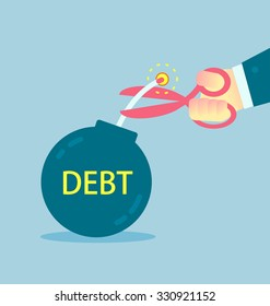 Cutting debt bomb, businessman's hand holding scissors to cut debt. Business concept