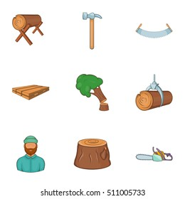 Cutting down trees icons set. Cartoon illustration of 9 cutting down trees vector icons for web