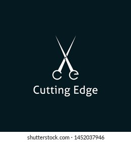 Cutting edge logo. This logo incorporate with scissor and letter c,e at the bottom. it will be suitable for saloon and hair cut related service.