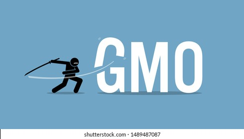 Cutting GMO food for healthy diet. Vector artwork concept of healthy lifestyle, eating organic, and stop eating genetically modified organism food.