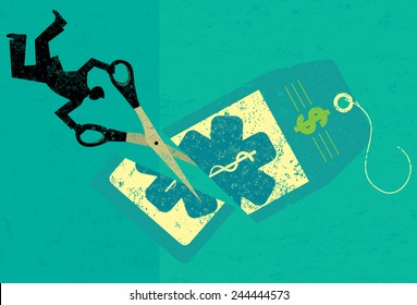 Cutting Health Care Costs A businessman cutting the high price of healthcare tag with large scissors over an abstract background.