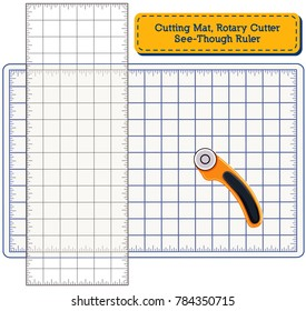 Cutting Mat, Rotary Blade Cutter, See Through Ruler, for do it yourself sewing, quilting, patchwork, appliqué, tailoring, arts and crafts projects.