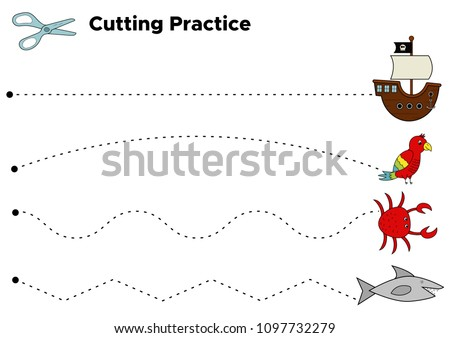 Cutting Practice Worksheet Preschool Kids Educational Stock Vector