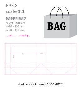 Cutting tools paper bag, pack of gray, with great depth, horizontal