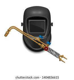 Cutting torch. Oxy acetylene torch propane tools for cutting metal and heating products. Burner for cutting and welding metals. Welding mask. Welder personal protective equipment. Vector illustration.