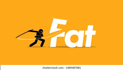 Cutting unhealthy fat food for healthy diet. Vector artwork concept of healthy lifestyle, good diet, and stop eating trans fats.