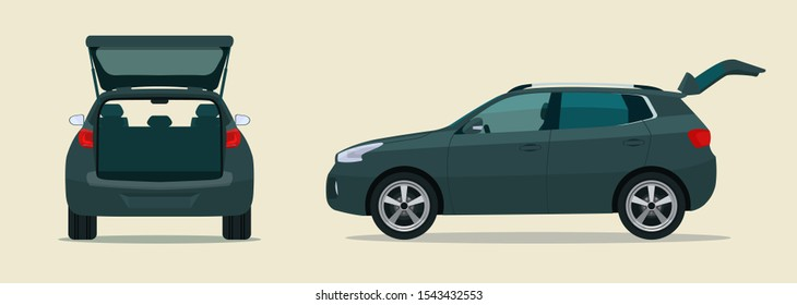CUV car with open boot. Side and back view. Vector flat style illustration.