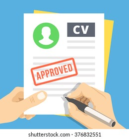 CV approvevent. Hand with pen sign a job application. Employment, hiring concepts. Modern flat design for web banners, web sites, infographic. Flat vector illustration isolated on blue background
