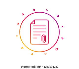 CV attachment line icon. Document file symbol. Gradient pattern line button. Attachment icon design. Geometric shapes. Vector