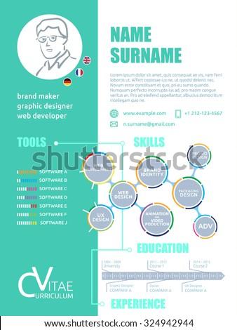 cv brief resume cv template graphic stock vector royalty free