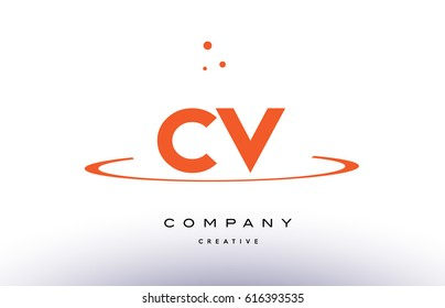 CV C V creative orange swoosh dots alphabet company letter logo design vector icon template