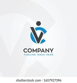 CV C and V human shape logo vector template