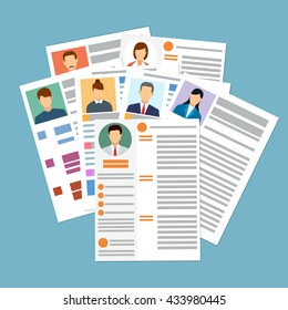Cv concept resume with photo, documents. Employment recruitment. Searching professional staff. CV application. Selecting staff. vector illustration in flat design