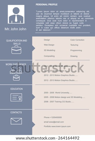 Cv Curriculum Vitae Employment Template Personal Stock Vector