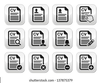 CV - Curriculum vitae, resume vector buttons set