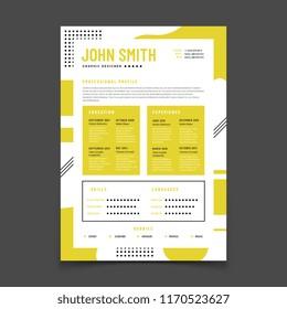 Cv design. Professional resume with business details. Curriculum and best job resume vector infographic mockup. Illustration of cv resume form for hr, paper application